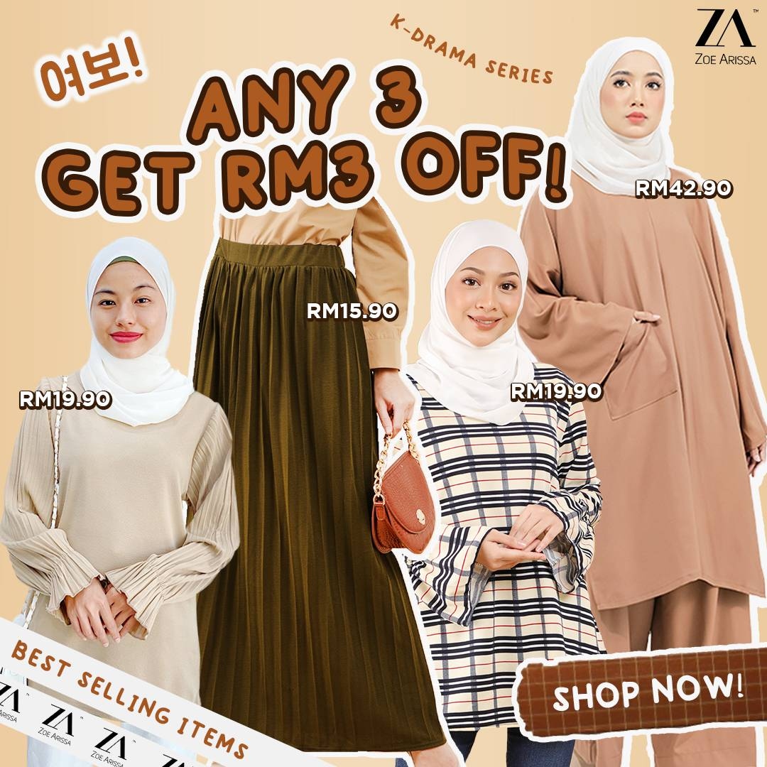 ANY 3 GET RM3 OFF