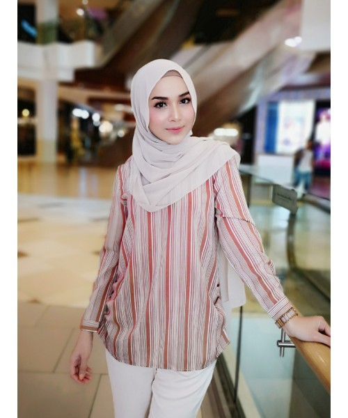(BF271803) Muslimah Stripe Blouse Modest Wear New Fashion Women Top (Black / Red)