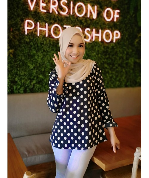 (BF6705) Muslimah Long Blouse Modest Wear Polka Dot New Fashion Women Top (DarkBlue / Brown / Red / Pink / Black)