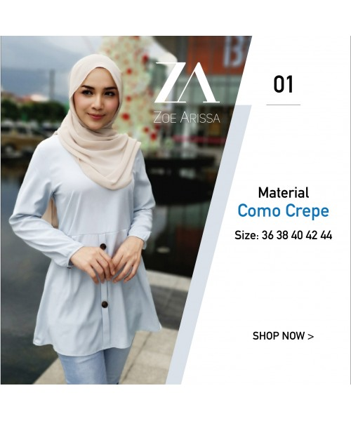 (BM2332) Muslimah Blouse Labuh Butang Como Crepe Modest Fashion Women Top (BabyBlue / DustyPink / ArmyGreen / SoftPink)