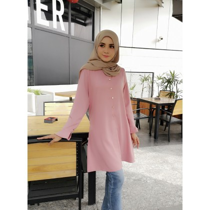 (BM2318) Muslimah Blouse Labuh Butang Como Crepe Modest Fashion Women Top (DustyPink / Maroon / NavyBlue / Beige)
