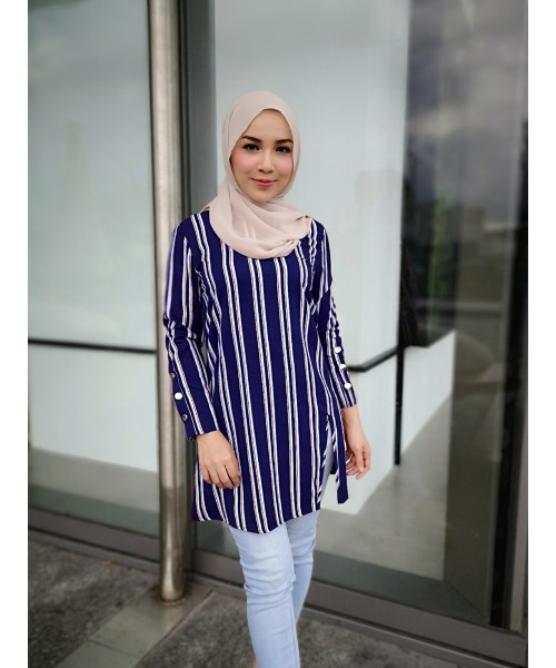 (BF2306) Muslimah Blouse Stripe Pearl Crepe Modest Fashion Women Top (Blue / Red / Black)