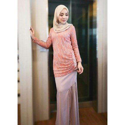 (BK685) Baju Mini Kurung Moden Lace ( Red / Peach / Dusty Pink / Emerald Green )