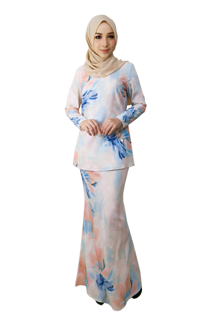 (BK698) Baju Mini Kurung Moden Print Floral ( Blue / Purple / Peach )
