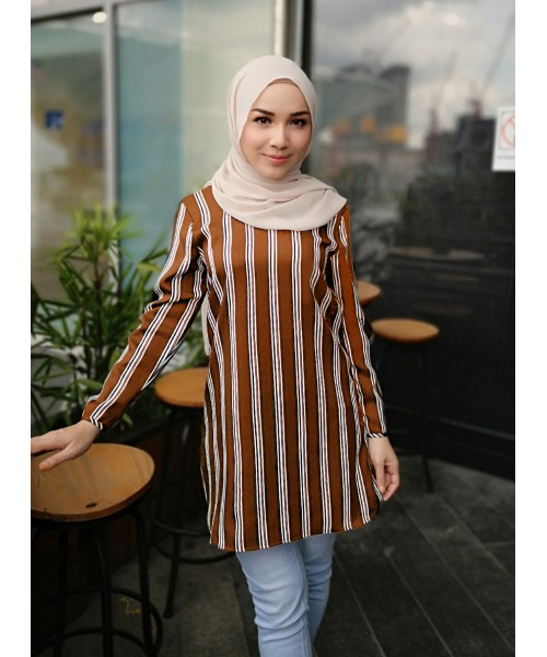 (BF6725) Muslimah Women's Stripe Pearl Crepe Blouse ( Brown/Black/DarkBlue )