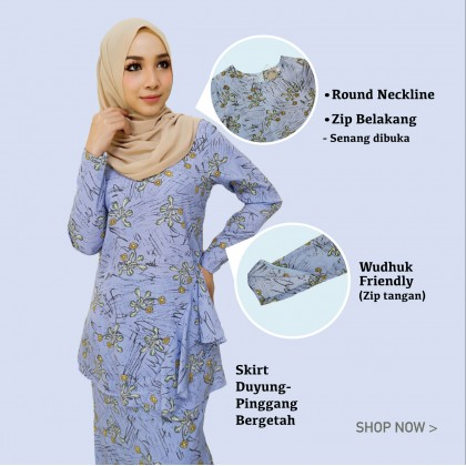 (BK703) Baju Kurung Moden Floral Printed ( Baby Blue / Cream / Dusty Pink / Navy Blue)