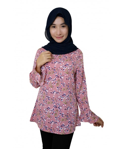 (BF6701) Muslimah Floral Blouse Korean New Fashion Women Top (Mustard / DustyPink / DeepBlack)