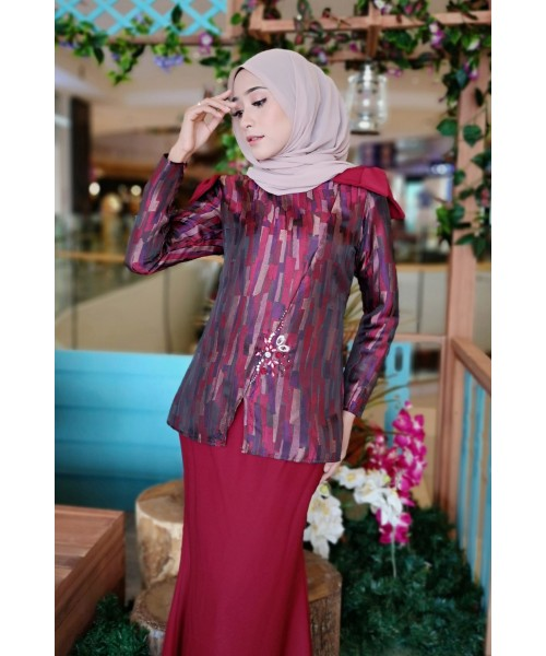 (BK708) Baju Kurung Moden Brocade with Ribbon (Maroon / Purple / Pink / Blue)