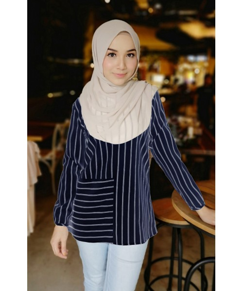 (BF6732) Muslimah Stripe Blouse Korean New Fashion Women Top