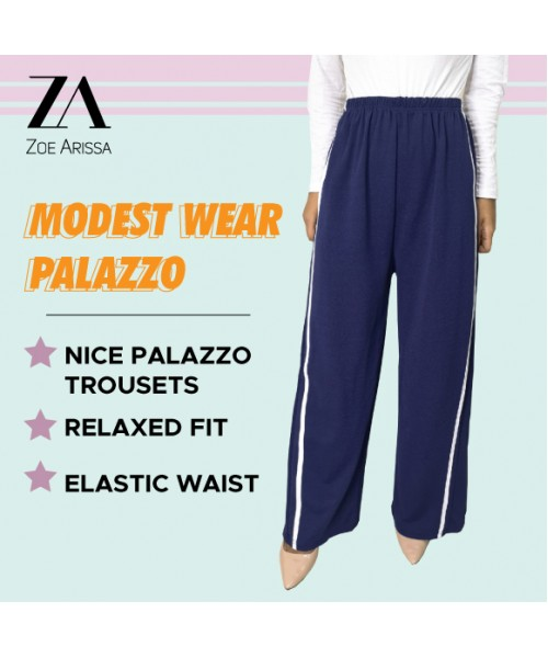 (P602) Women Palazo Pants Seluar Sports Casual Activewear Muslimah Palazzo Wide Leg Stretchable