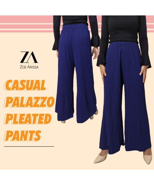 (P1062) Women Palazo Pants Pleated Seluar Casual Muslimah Palazzo Wide Leg Loose