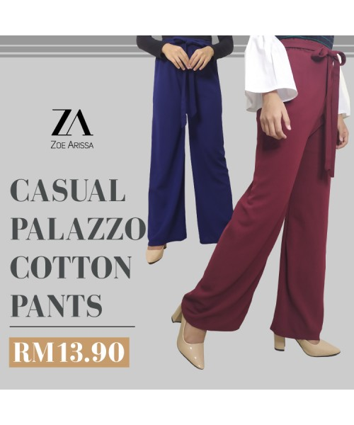 (P713) Women Palazo Cotton Pants Wide Leg Loose